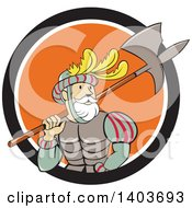 Clipart Of A Retro Cartoon Spanish Conquistador Carrying A Sword And Axe In A Black White And Orange Circle Royalty Free Vector Illustration by patrimonio