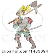 Clipart Of A Retro Cartoon Spanish Conquistador Carrying A Sword And Axe Royalty Free Vector Illustration