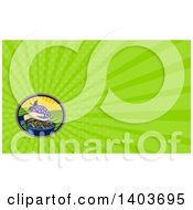 Clipart Of A Retro Woodcut Hand Holding A Bunch Of Purple Grapes Over A Bowl Of Raisins And Green Rays Background Or Business Card Design Royalty Free Illustration