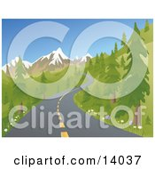 Two Laned Road Winding Up A Mountain Between Evergreen Trees During Spring Or Summer Clipart Illustration