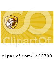 Clipart Of A Bear And Yellow Rays Background Or Business Card Design Royalty Free Illustration