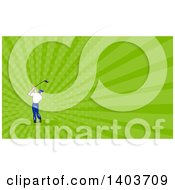 Clipart Of A Rear View Of A Cartoon White Male Golfer Swinging And Green Rays Background Or Business Card Design Royalty Free Illustration