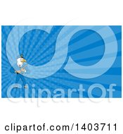 Clipart Of A Cartoon Bald Eagle Police Officer Man Holding A Baton And Blue Rays Background Or Business Card Design Royalty Free Illustration