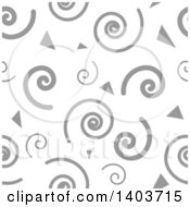 Clipart Of A Retro Seamless Grayscale Pattern Background Of Spirals And Triangles Royalty Free Vector Illustration