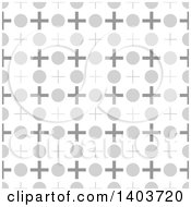 Clipart Of A Retro Seamless Grayscale Pattern Background Of Crosses And Circles Royalty Free Vector Illustration