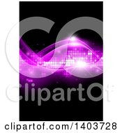 Abstract Background Of Pink Waves And Pixels On Black