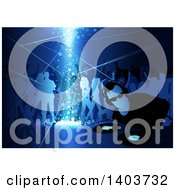 Clipart Of A Male Dj And Silhouetted Dancers In Blue Tones With Stars Shining Down Royalty Free Vector Illustration