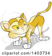 Cartoon Yellow Cat Looking Back