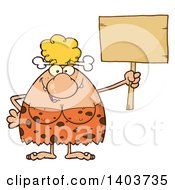 Cartoon Clipart Of A Cave Woman Holding Up A Blank Sign Royalty Free Vector Illustration