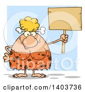 Cartoon Clipart Of A Cave Woman Holding Up A Blank Sign On Blue Royalty Free Vector Illustration