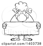 Cartoon Clipart Of A Black And White Lineart Cave Woman Holding A Blank Stone Sign Royalty Free Vector Illustration
