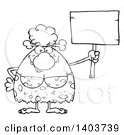 Cartoon Clipart Of A Black And White Lineart Cave Woman Holding Up A Blank Sign Royalty Free Vector Illustration