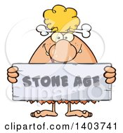 Cartoon Clipart Of A Cave Woman Holding A Stone Age Sign Royalty Free Vector Illustration