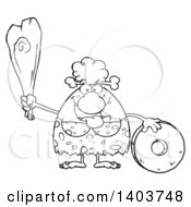 Cartoon Clipart Of A Black And White Lineart Creative Cave Woman Holding A Club By A Stone Wheel Royalty Free Vector Illustration