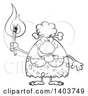 Cartoon Clipart Of A Black And White Lineart Cave Woman Holding A Torch Royalty Free Vector Illustration