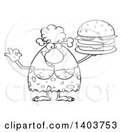 Cartoon Clipart Of A Black And White Lineart Cave Woman Holding A Cheeseburger Royalty Free Vector Illustration