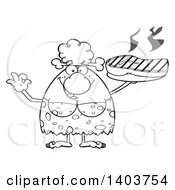 Cartoon Clipart Of A Black And White Lineart Cave Woman Serving A Grilled Beef Steak And Gesturing Ok Royalty Free Vector Illustration
