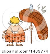 Cartoon Clipart Of A Cave Woman With A Grilled Steak On A Spear Royalty Free Vector Illustration