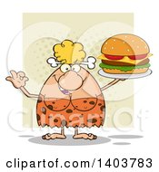 Cartoon Clipart Of A Cave Woman Holding A Cheeseburger On Tan Royalty Free Vector Illustration