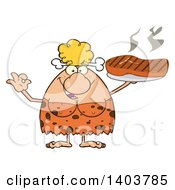 Cartoon Clipart Of A Cave Woman Serving A Grilled Beef Steak And Gesturing Ok Royalty Free Vector Illustration