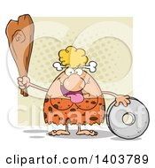 Cartoon Clipart Of A Creative Cave Woman Holding A Club By A Stone Wheel On Tan Royalty Free Vector Illustration