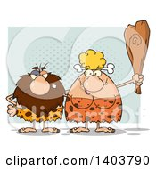 Cartoon Clipart Of A Caveman And Woman Couple Over Green Royalty Free Vector Illustration