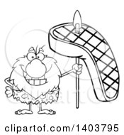 Cartoon Clipart Of A Black And White Lineart Caveman Mascot Character Holding A Grilled Beef Steak On A Spear Royalty Free Vector Illustration