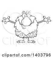 Cartoon Clipart Of A Black And White Lineart Caveman Mascot Character Wanting A Hug Royalty Free Vector Illustration