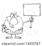 Cartoon Clipart Of A Black And White Lineart Caveman Mascot Character Holding Up A Blank Sign Royalty Free Vector Illustration