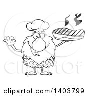 Cartoon Clipart Of A Black And White Lineart Chef Caveman Mascot Character Holding A Grilled Beef Steak Royalty Free Vector Illustration