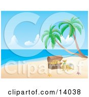 Pink And Orange Starfish On White Sand By A Treasure Chest With Gold On A Tropical Beach With Palm Trees Clipart Illustration