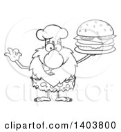 Cartoon Clipart Of A Black And White Lineart Chef Caveman Mascot Character Holding A Cheeseburger Royalty Free Vector Illustration