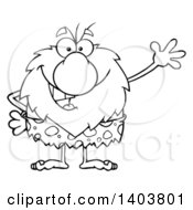 Cartoon Clipart Of A Black And White Lineart Friendly Waving Caveman Mascot Character Royalty Free Vector Illustration