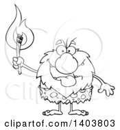 Cartoon Clipart Of A Black And White Lineart Caveman Mascot Character Carrying A Torch Royalty Free Vector Illustration
