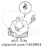 Cartoon Clipart Of A Black And White Lineart Caveman Mascot Character Thinking Of Fire Royalty Free Vector Illustration