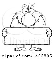 Cartoon Clipart Of A Black And White Lineart Caveman Mascot Character Holding A Blank Sign Royalty Free Vector Illustration