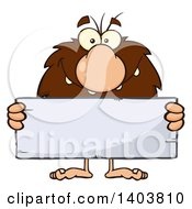 Cartoon Clipart Of A Caveman Mascot Character Holding A Blank Stone Sign Royalty Free Vector Illustration