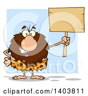 Cartoon Clipart Of A Caveman Mascot Character Holding Up A Blank Sign Over Blue Royalty Free Vector Illustration