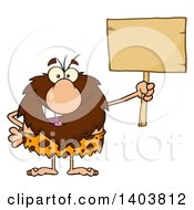 Cartoon Clipart Of A Caveman Mascot Character Holding Up A Blank Sign Royalty Free Vector Illustration