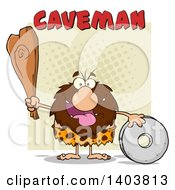 Cartoon Clipart Of A Caveman Mascot Character Holding A Club And Standing With A Wheel With Text On Tan Royalty Free Vector Illustration