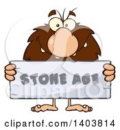 Cartoon Clipart Of A Caveman Mascot Character Holding A Stone Age Sign Royalty Free Vector Illustration