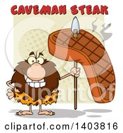 Cartoon Clipart Of A Caveman Mascot Character Holding A Grilled Beef Steak On A Spear Under Text Royalty Free Vector Illustration by Hit Toon