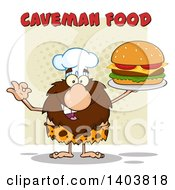 Cartoon Clipart Of A Chef Caveman Mascot Character Holding A Cheeseburger Under Text Royalty Free Vector Illustration