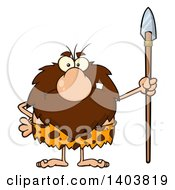 Cartoon Clipart Of A Mad Caveman Mascot Character Standing With A Spear Royalty Free Vector Illustration by Hit Toon