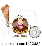 Cartoon Clipart Of A Caveman Mascot Character Holding A Club And Standing With A Wheel Royalty Free Vector Illustration