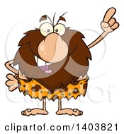 Cartoon Clipart Of A Caveman Mascot Character Holding Up A Finger Royalty Free Vector Illustration by Hit Toon