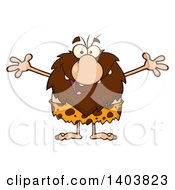 Cartoon Clipart Of A Caveman Mascot Character Wanting A Hug Royalty Free Vector Illustration