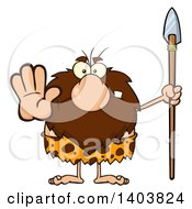 Cartoon Clipart Of A Mad Caveman Mascot Character Holding A Spear And Gesturing Stop Royalty Free Vector Illustration by Hit Toon