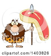 Cartoon Clipart Of A Caveman Mascot Character Holding A Raw Beef Steak On A Spear Royalty Free Vector Illustration