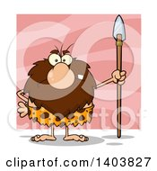 Cartoon Clipart Of A Mad Caveman Mascot Character Standing With A Spear Over Pink Royalty Free Vector Illustration